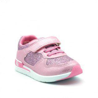 16cc3066308 ... CANGURO sneaker για κορίτσι με μαλακή σόλα για άνετο περπάτημα.Κλείνει  με διπλό velcro.Διατίθεται σε ασημί και ροζ χρώμα.